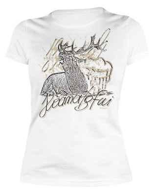 Trachten Damen T-Shirt: Hoamatgfui - Hirsch