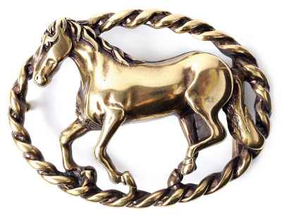 Gürtelschliesse Pferd messing 40 mm