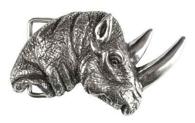 Gürtelschliesse: Nashorn 10 x 6 cm