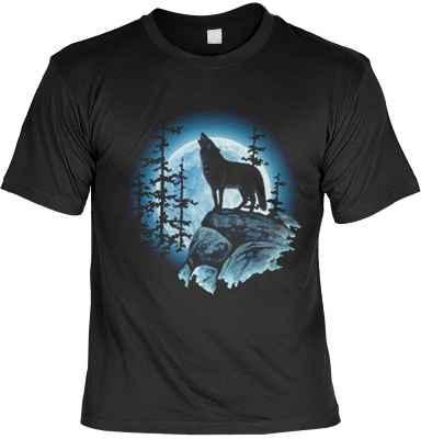 T-Shirt: heulender Wolf im Mondschein
