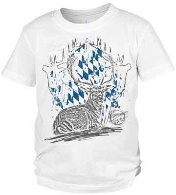 Trachten T-Shirt Jungen: Hirsch liegend Premium Tracht
