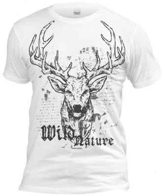cooles Volksfest T-Shirt weiß: Wild Nature - Hirsch