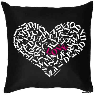 Kissenbezug: Buchstaben-Herz
