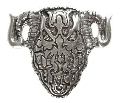Gürtelschliesse: Skull 9 x 8 cm