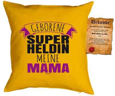 Kissen mit Füllung und Urkunde: Geborene Super Heldin meine Mama