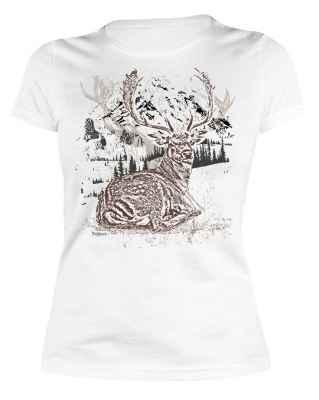 Trachten Damen T-Shirt: Hirsch liegend