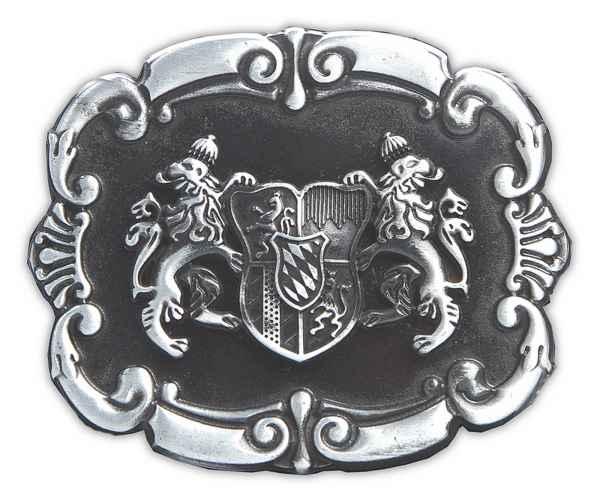 Gürtelschliesse Landeswappen schwarz silber 40 mm