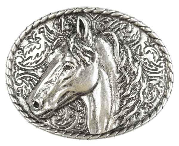 Gürtelschliesse: Pferdekopf 9,5 x 7,4 cm 40 mm