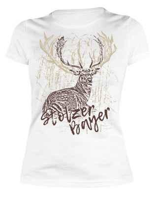 Trachten Damen T-Shirt: Stolzer Bayer - Hirsch