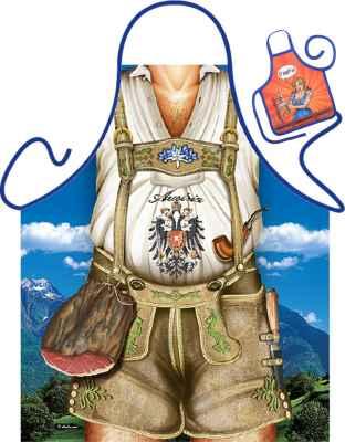 Motiv-Schürze mit kleiner Schürze: Austria Mann braun