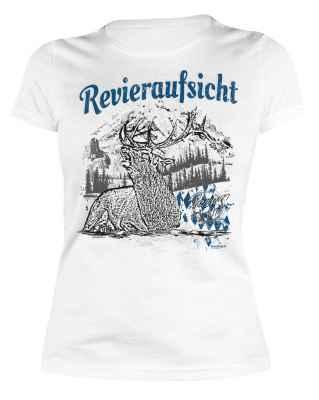Trachten Damen T-Shirt: Revieraufsicht - Hirsch