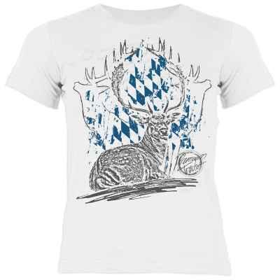 Trachten Shirt Mädchen: Hirsch - liegend Premium Tracht