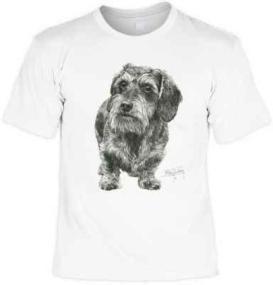 T-Shirt: Rauhaardackel (Schwarz-Weiß-Zeichnung)