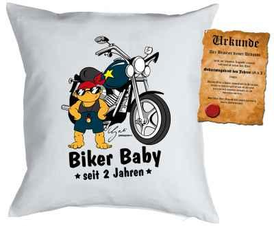 Kissenbezug mit Urkunde: Biker Baby seit 2 Jahren