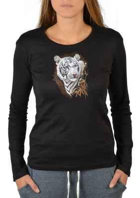 Langarmshirt Damen: Weißer Tiger