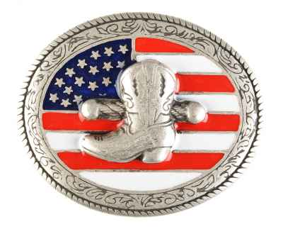 Gürtelschliesse: Cowboystiefel 8,4 x 7 cm