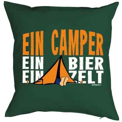 Kissenbezug: Ein Camper ein Bier ein Zelt
