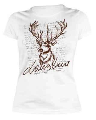 Trachten Damen T-Shirt: Lausbua - Hirsch