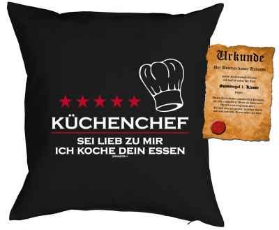 Kissenbezug mit Urkunde: Küchenchef - sei lieb zu mir, ich koche Dein Essen