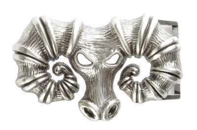 Gürtelschliesse: Skull Bock 9,5 x 5,7 cm
