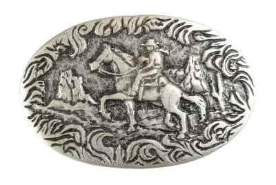Gürtelschliesse: Cowboy mit Pferd 8,5 x 5,6 cm