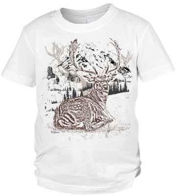 Trachten T-Shirt Jungen: Hirsch liegend