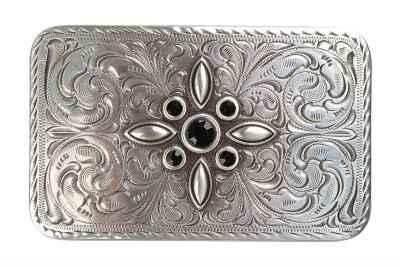 Gürtelschliesse: Ornamente mit Steine 7,7 x 4,8 cm 40 mm