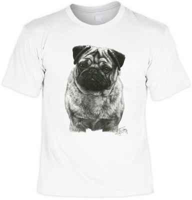 T-Shirt: Mops (schwarz-weiß Zeichnung)