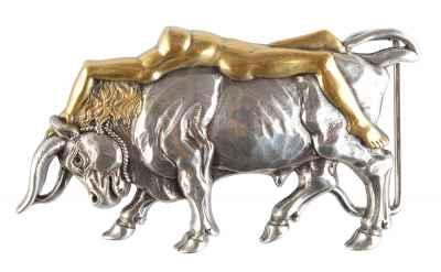 Gürtelschliesse: Stier 9,5 x 5,3 cm