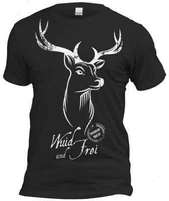 T-Shirt zum Volksfest schwarz: Wuid und Frei - junger Hirsch
