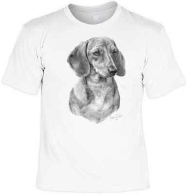T-Shirt: Dackel (Schwarz-Weiß-Zeichnung)