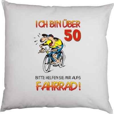 Kissenbezug: Ich bin über 50! Bitte helfen Sie mir aufs Fahrrad!