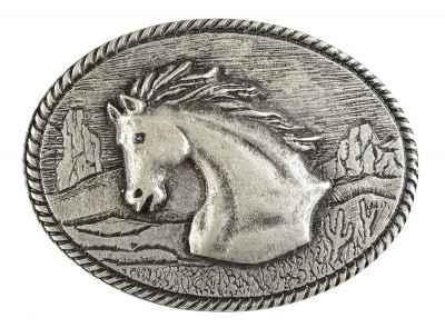 Gürtelschliesse: Pferdekopf 8,6 x 6,5 cm 40 mm