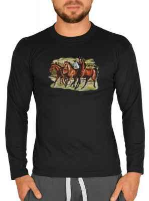 Langarmshirt Herren: Pferdeherde