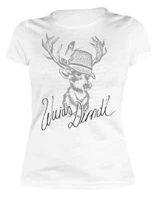 Trachten Damen T-Shirt: Wuids Dirndl - Hirsch