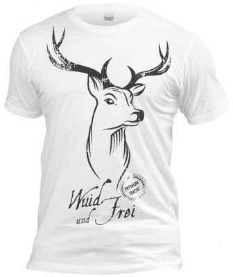 cooles Volksfest T-Shirt weiß: Wuid und Frei - junger Hirsch