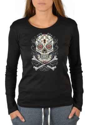 Langarmshirt Damen: floral Skull