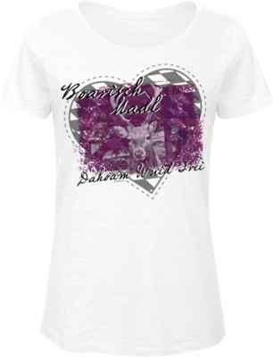 Landhaus Damen T-Shirt: Boarisch Madl Dahoam Wuid Frei