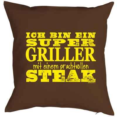 Kissenbezug: Ich bin ein Super Griller mit einem prachtvollen Steak