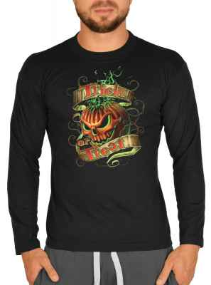 Langarmshirt Herren: Trick or Treat - Kürbis