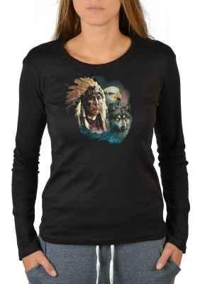 Langarmshirt Damen: Indianer mit Adler und Wolf