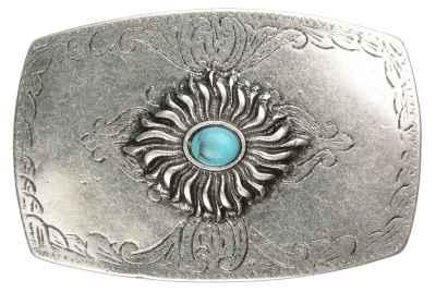 Gürtelschliesse: Ornamente Stein türkis 8,4 x 5,5 cm 40 mm