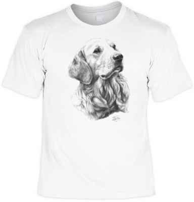 T-Shirt: Golden Retriever (schwarz-weiß Zeichnung)