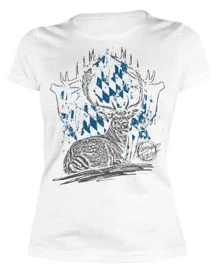 Trachten Damen T-Shirt: Hirsch liegend Premium Tracht