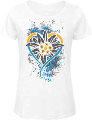 Trachten Damen T-Shirt: Edelweiß Bayern Herz