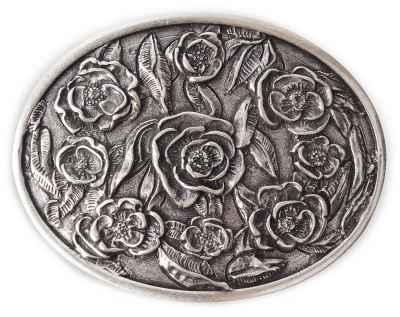 Gürtelschliesse Flora silber 40 mm