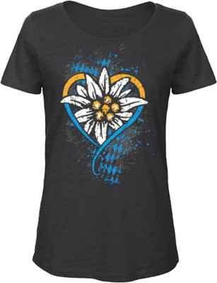 Damen Trachten T-Shirt: Edelweiß Bayern Herz