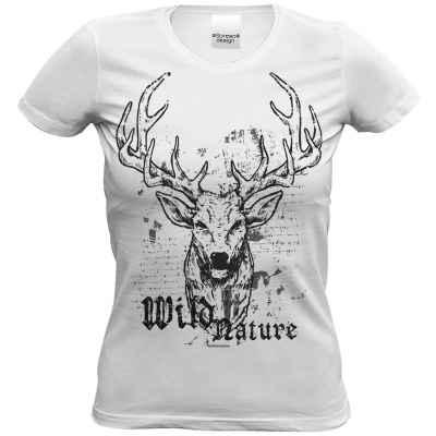 Volksfest T-Shirt für Damen weiß: Wild Nature - Hirsch