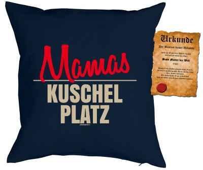 Kissenbezug mit Urkunde: Mamas Kuschelplatz