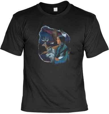 T-Shirt: Indianerin mit Tieren